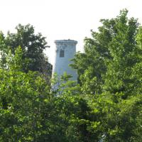 We got a very brief look at Boblo Island Light which is located on the Canadian side of the Detroit River.  The lantern has been removed and the light is barely visible in the thicket of trees.