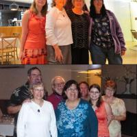 Our contest and game winners – Top:  Cassandra, Leann, Stan, Betty and Ann, bottom front:  Leann, Connie, Cassandra, Marjie, back:  Matt, Guy, Carolyn.