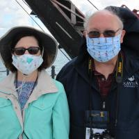 Judith and Steve in Lighthouse masks