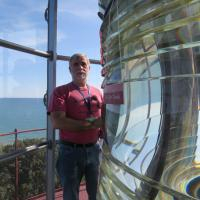 Kevin and Second-Order Fresnel lens at Grosse Point
