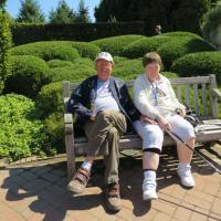Cindy and Reggie take a rest break in a beautiful setting