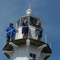 Dave, Beth and Sue enjoying the view from the top of the Cedar Key Lighthouse
