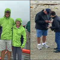 "Stan & Betty model their rain gear - Bill telling Peggy ""that is too many rocks!"""