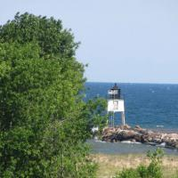 Ontonagon Harbor breakwater can be seen from the Ontonagon Lighthouse.