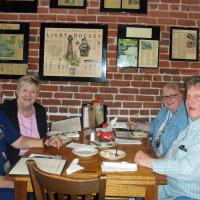 Bruce & Mary, Joe & Ann enjoying dinner at Hyman's Restaurant where we were greeted by one of the owners, Eli Hyman.