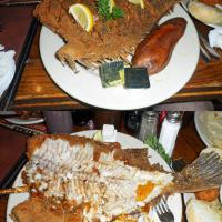 Before and after photos of one the specialties at Hyman's Restaurant:  Crispy Flounder