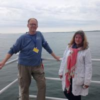 Fran and Susan of the Custom House Maritime Museum at the New London Ledge Lighthouse
