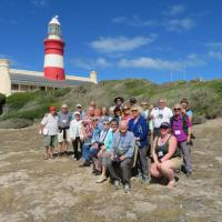 Tour Group @ Aghulas Lighthouse. Southern most Point in Africa