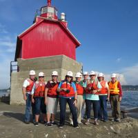 """Our """"hard hats"""" at the outer light"""