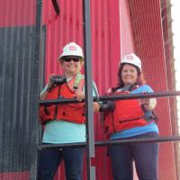 Christine and Connie triumph the walk and climb despite the hot weather and obstacles