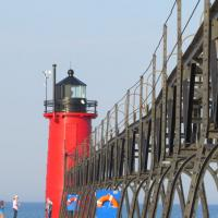 South Haven Lighthouse and catwalk which was fully restored in 2012
