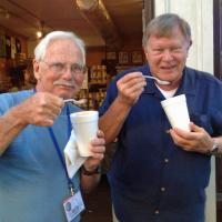 Even after a buffet of BBQ ribs, chicken, brisket and peach cobbler, these two (Bob & Rick) still found room for ice cream!