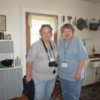 Carolyn, a volunteer, happily posed with Pat