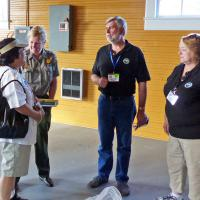Dawn Davis, a ranger from Fort Moltrie provided some up to date information about the restoration of the Sullivan's Island Coast Guard Station boat house with Frances, Kevin & Pat.