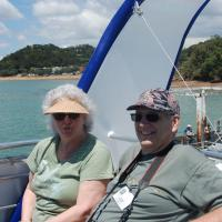 Elinor and John on boat to Hole in the Rock