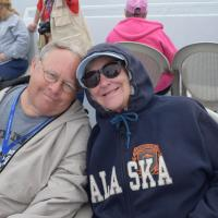 Shannon and Pat snuggle during a rocky boat ride.