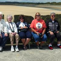 Jan, Betty, Cheryl, Wanda and Debbie take a break at Burry Port.