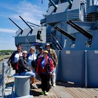 Joan, Jill, Nancy, Sheila, Kathryn and Tom on USS Alabama