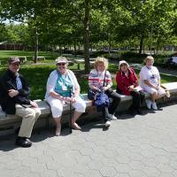 Mark, Cheryl, Luann, AJ and Marjie waiting for the bus