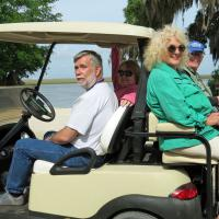 Driver Kevin, prepared to transport his group (Lisa, Dick & Pat) to the Bloody Point Range Light on Daufauski Island.