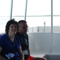 Kelly and Mike on the boat to Alligator Reef