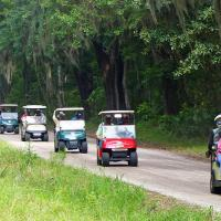 Our parade of golf carts on Daufauski Island.
