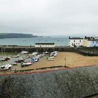 This is what happens at low tide - photo taken from hotel in Tenby.