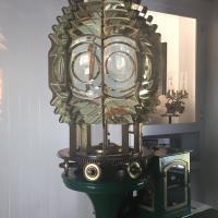 San Luis Lighthouse original lens in storage shed