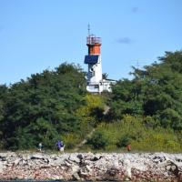 Toronto Harbor Lighthouse was seen from our boat in Toronto Islands