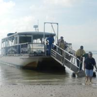 Getting off of the boat at Anclote Key