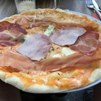 This is what a 3 salumi (Italian cold cuts) French pizza looked like.