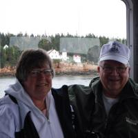 Ann and Gene with Bass Harbor Light in the background