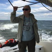 Dick on the boat to Thomas Point Shoal