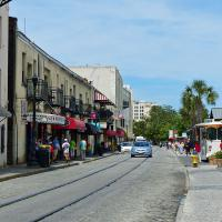 Savannah's River Street is popular for its shops and restaurants.