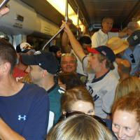 """Subways in Boston can get crowded – in this photo isn't """"where's Waldo?"""" – It's """"where's Randall?"""""""