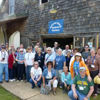 Most of the group posing in front of the Roanoke Island Maritime Museum.