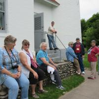 Waiting to climb the 72 steps to the top of Point Iroquois.