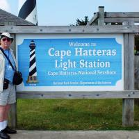 Bruce poses at the entrance to one of the most famous lighthouses in the world.