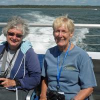 Darlene, shown here with Nancy, was one of 42 additional people that joined the tour for the one day cruise to the Buzzards Bay lights.