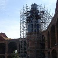 Key Garden Light covered in scaffolding at Fort Jefferson