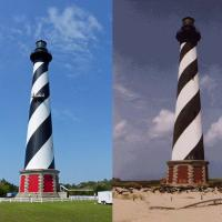 Cape Hatteras now and then.  On the left a photo taken on the tour.  On the right a photo sent to us by Lilla, our Italian friend, who visited the lighthouse before it was moved 2,900 feet in 1999
