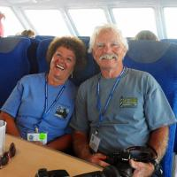 Cheryl and Bob show off the comfortable seats that were available for the 4.5 hour cruise to visit 10 lighthouses.