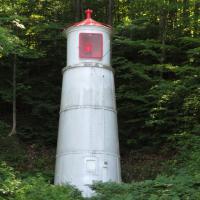 Munising Rear Range Light nestled in the trees several blocks from the Front Range Light