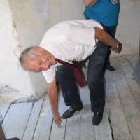 Vern tests the wooden floor