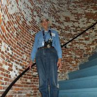 Bob poses on the stairs of the Sapelo Island Lighthouse which were rebuilt in 1998 allowing visitors to climb to the top.