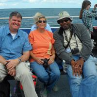 """James """"Lighthouse"""" Hill and Hilari Seery joined Al on the Buzzards Bay tour.  James and Al are major contributors to the success of the Passport Program."""