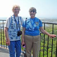 Shirley and Mary Ann pose at the top of the tallest lighthouse in the U.S.
