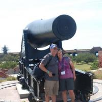 Ken and Nancy by the Big Gun (Cannon) at Fort Jefferson