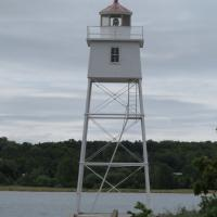 Grand Marais Outer and Inner Range lights guide boats into the spacious natural harbor
