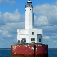 Cleveland East Ledge Light is a rare example of an Art Moderne light—the only one of its kind in New England, as well as New England's very last commissioned light.